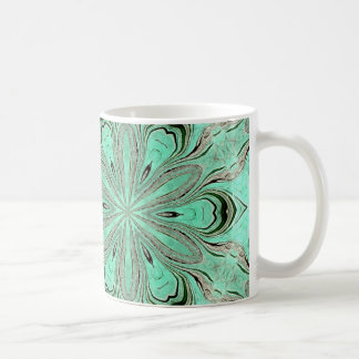 Turquoise flower pattern (K361) Coffee Mug