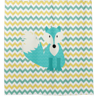 Turquoise Fox on Teal and Yellow Chevron Stripes Shower Curtain