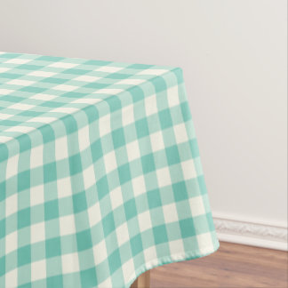 Turquoise Gingham Cotton Tablecloth