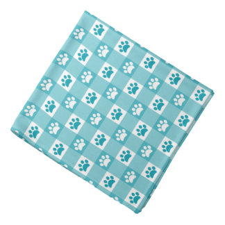 Turquoise Gingham with Paws Do-rag