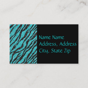 Turquoise glitter business cards zazzle nz turquoise glitter zebra print monogram business card reheart Image collections