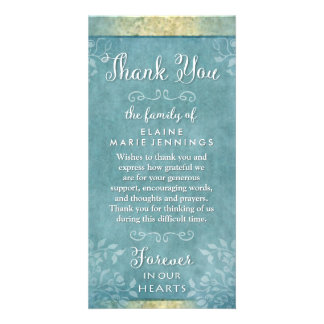 Turquoise & Gold Floral Thank You Sympathy Card Custom Photo Card