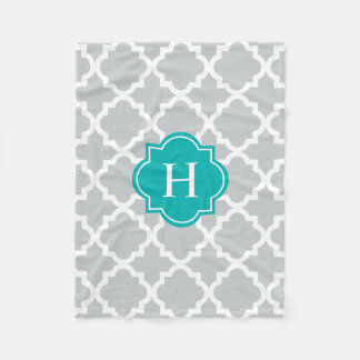 Turquoise & Gray Monogram | Fleece Blanket