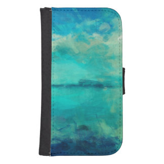 Turquoise Green Calm Summer Day Abstract Art Samsung S4 Wallet Case