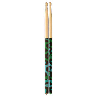 Turquoise Green Cheetah Abstract Drumsticks