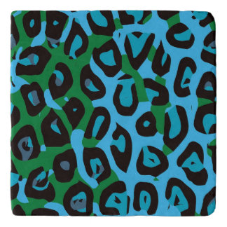 Turquoise Green Cheetah Abstract Trivet