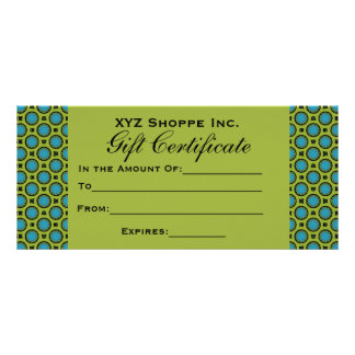 Turquoise Green Gift Certificate 10 Cm X 23 Cm Rack Card