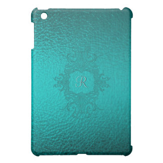 Turquoise Green Stained Class Look-Monogram Cover For The iPad Mini