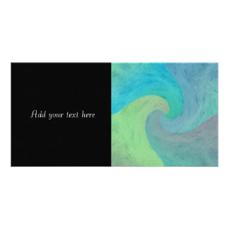 Turquoise Green Watercolor Wave Modern Art Photo Greeting Card