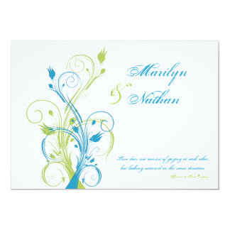 Turquoise Green White Floral Wedding Invitation