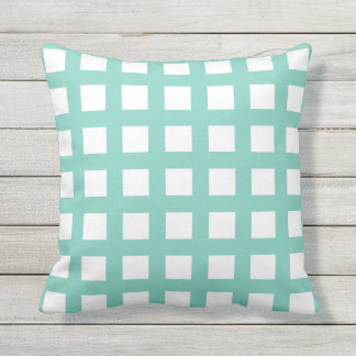 Turquoise Grid Check Outdoor Pillows