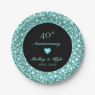 Turquoise Heart And Diamonds- Anniversary Paper Plate