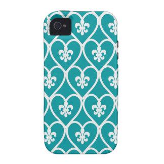 Turquoise Heart Fleur De Lis Case-Mate iPhone 4 Case
