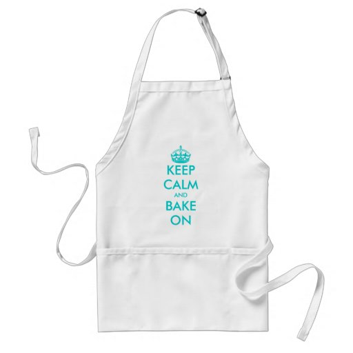 Turquoise Keep Calm and bake on apron | Customize