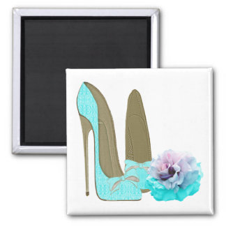 Turquoise Lace Stiletto Shoes and Rose Art Magnet