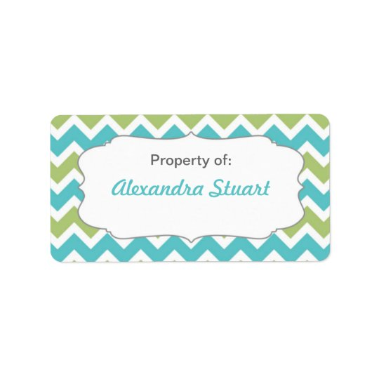 Turquoise & Lime Chevron Property of School ID Address Label