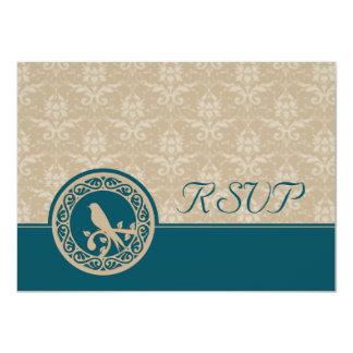 Turquoise Lovebird Damask RSVP Card