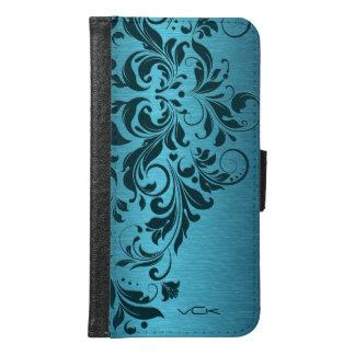 Turquoise Metallic Texture & Darker Lace Design Samsung Galaxy S6 Wallet Case