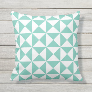 Turquoise Modern Triangle Outdoor Pillow