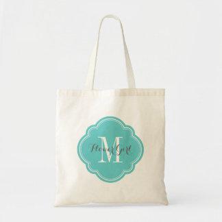 Turquoise Monogram Flower Girl Tote Bag
