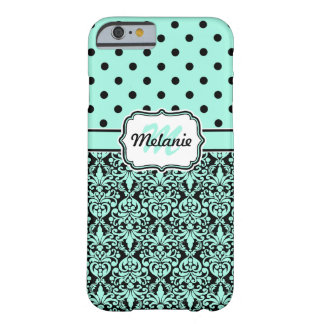 Turquoise Monogrammed Damask Polka Dots Pattern Barely There iPhone 6 Case