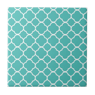 Turquoise Moroccan Pattern Small Square Tile