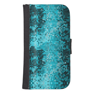 Turquoise Mosaic Geometric Pattern Samsung S4 Wallet Case