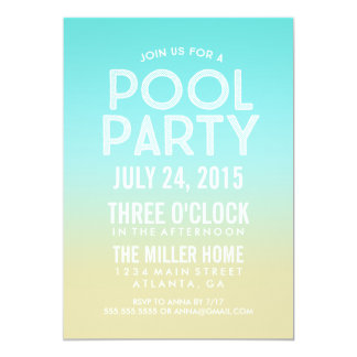 Turquoise Ombre Sand Summer Pool Party Invite