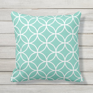 Turquoise Outdoor Pillows - Circle Trellis