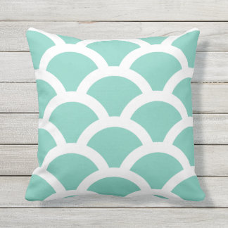 Turquoise Outdoor Pillows - Circles Pattern