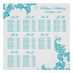 Turquoise Paisley Peacock Wedding Seating Chart Posters