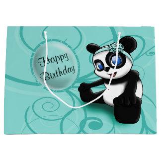 Turquoise Panda Birthday Gift Bag - Large, Glossy