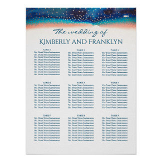 Turquoise Peach Bue Starry Wedding Seating Chart Poster
