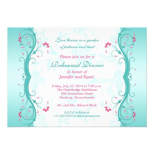 Turquoise Pink Floral Rehearsal Dinner Invitation