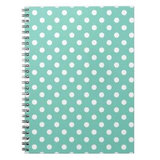 Turquoise Polka Dot Pattern Notepad Notebooks