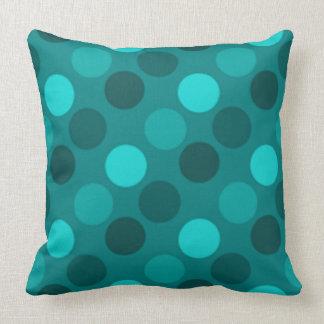 Turquoise Polka Dot Throw Pillow