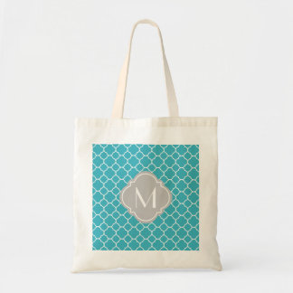 Turquoise Quatrefoil Pattern with Monogram Tote Bag