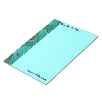 Turquoise red colourful pattern notepad