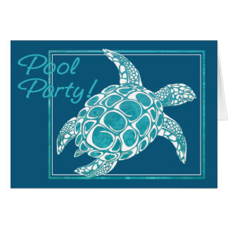 Turquoise Sea Turtle Invite Pool Party Card