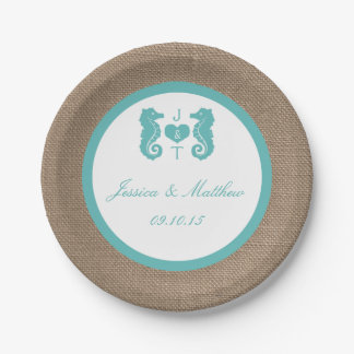 Turquoise Seahorse Burlap Beach Wedding Collection 7 Inch Paper Plate