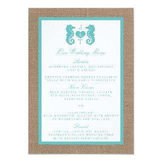Turquoise Seahorse Burlap Beach Wedding Collection Card