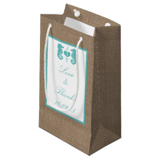 Turquoise Seahorse Burlap Beach Wedding Collection Small Gift Bag