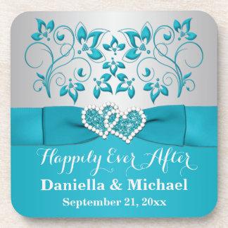 Turquoise, Silver Wedding Favor Coaster Set (6)