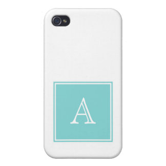Turquoise Square Monogram Cover For iPhone 4