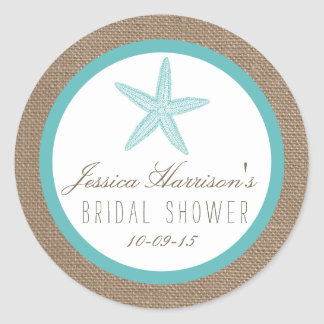 Turquoise Starfish Beach Bridal Shower Stickers