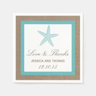 Turquoise Starfish Burlap Beach Wedding Collection Disposable Serviettes