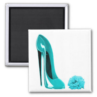 Turquoise Stiletto Shoe and Rose Magnets