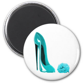 Turquoise Stiletto Shoe and Rose Refrigerator Magnet