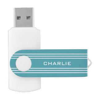 Turquoise Stripes custom monogram USB drives