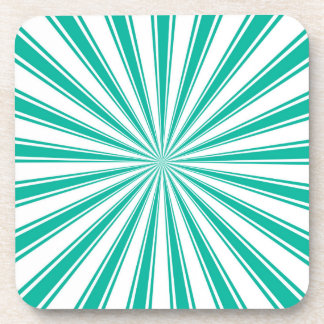 Turquoise Sun Rays Pattern Retro Stripes Coaster